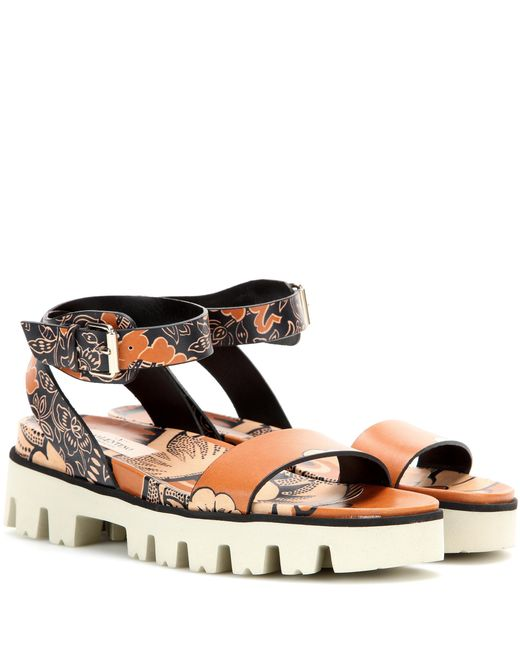 Valentino - Brown Covered Printed Leather Sandals - Lyst