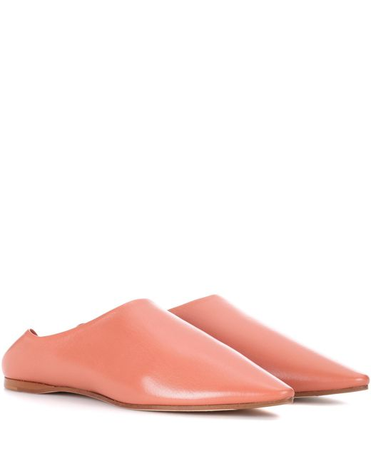 Acne | Pink Amina Leather Babouche Slippers | Lyst