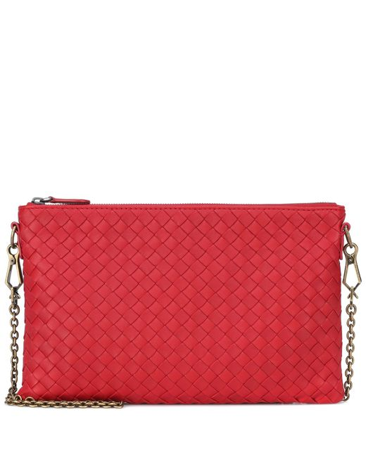 Bottega Veneta - Red Intrecciato Leather Shoulder Bag - Lyst