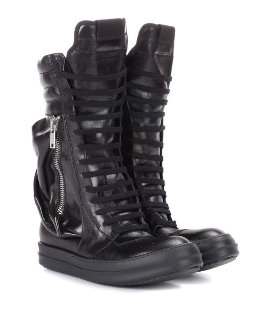 Rick Owens - Black Leather Combat Boots - Lyst