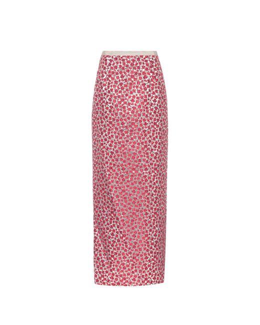 Oscar de la Renta - Red Floral Jacquard Skirt - Lyst