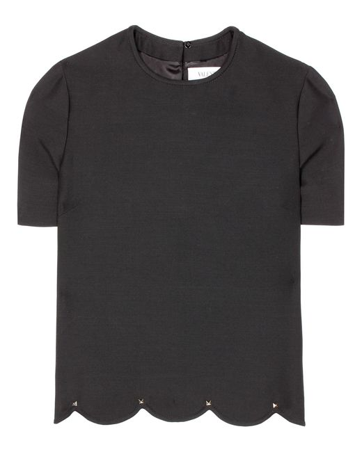 Valentino - Black Wool And Silk Top - Lyst