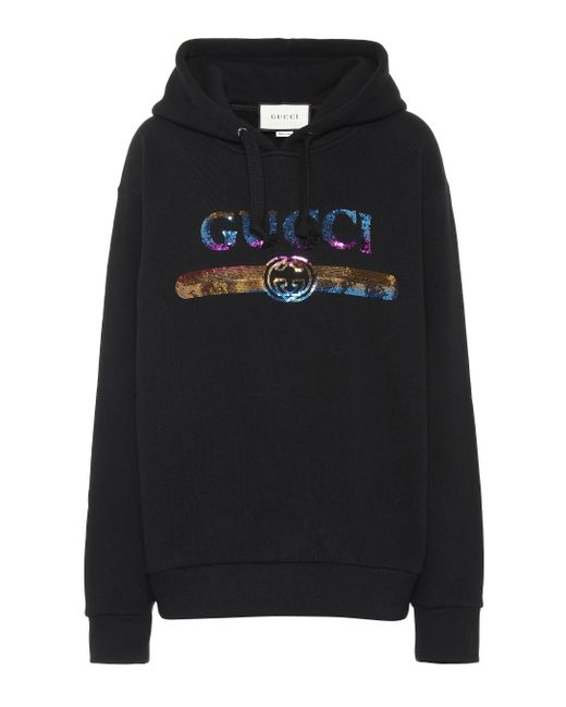 Lyst - Gucci Sequinned Logo Hooded Cotton Sweatshirt in Black - Save ... fb0243929b6b