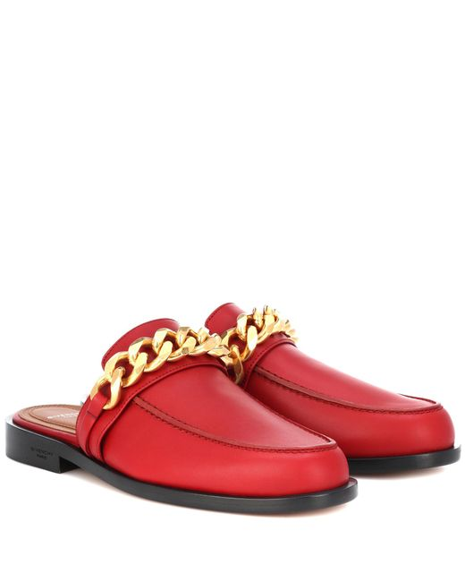 Givenchy Red Chain Leather Slippers