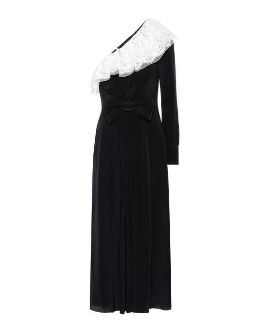 Alessandra Rich Black One-shoulder Silk Dress
