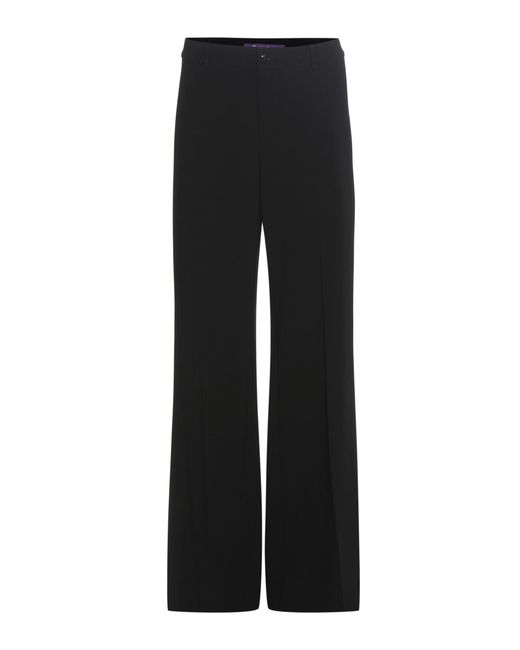 Ralph Lauren | Black Barton Wool Crêpe Wide-leg Trousers | Lyst