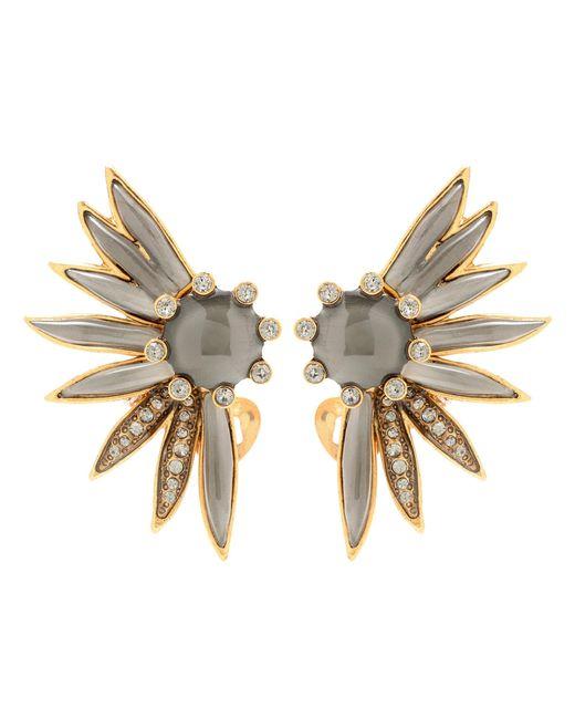 Oscar de la Renta | Gray Crystal-embellished Clip-on Earrings | Lyst