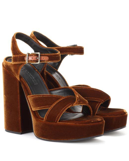 Jil Sander | Brown Velvet Plateau Sandals | Lyst