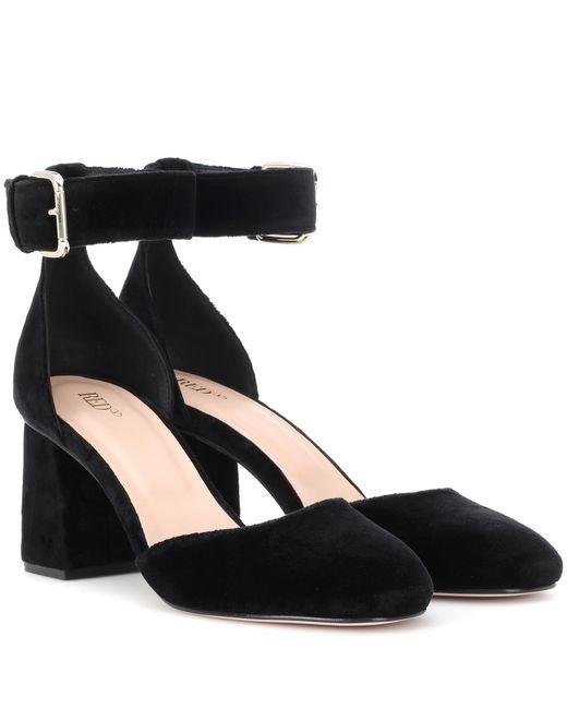 RED Valentino - Black Red (v) Velvet Block Heel Pumps - Lyst