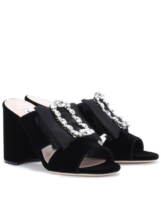 Miu Miu - Black Embellished Velvet Slip-on Sandals - Lyst