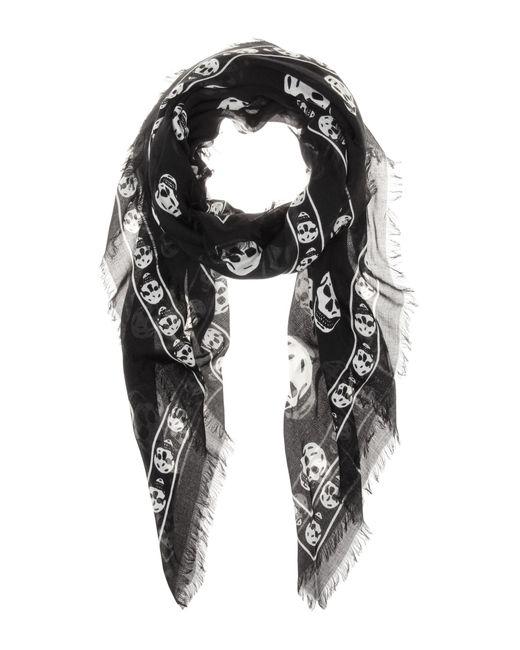 Alexander McQueen - Black Skull-print Silk-blend Scarf - Lyst