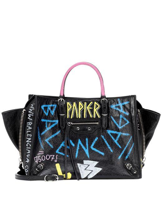 Balenciaga - Black Papier A6 Zip Around Leather Shoulder Bag - Lyst