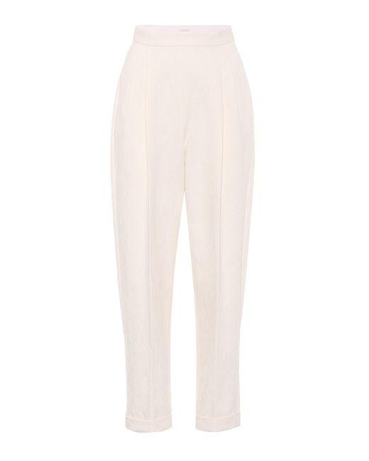 Delpozo - White Jacquard Cotton Trousers - Lyst