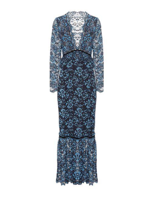 Ganni - Blue Flynn Lace Maxi Dress - Lyst