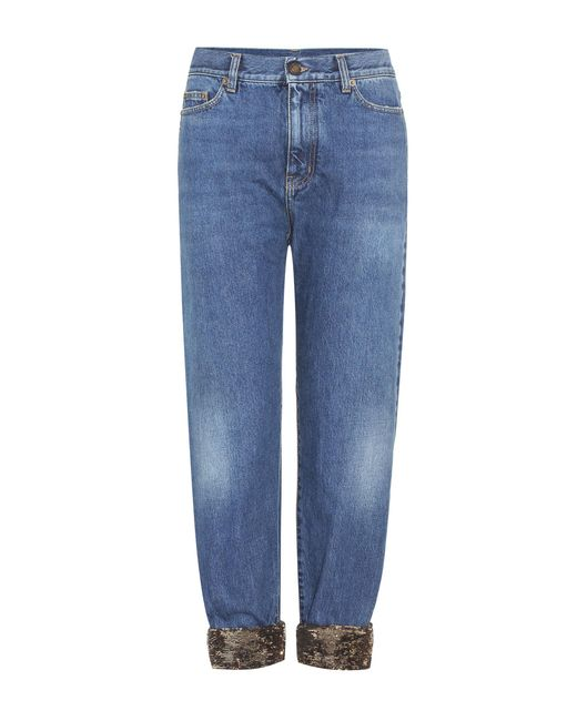 Saint Laurent - Blue Sequin-trimmed Jeans - Lyst