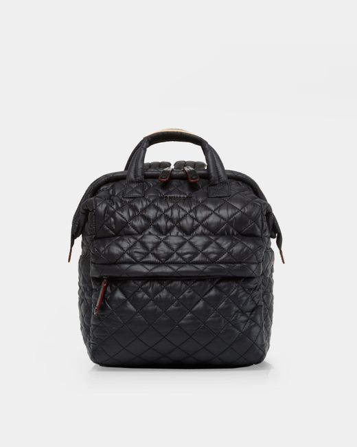 MZ Wallace Quilted Black Small Top Handle Backpack