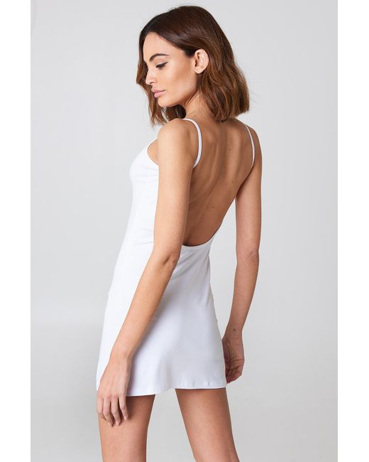 NA-KD - White Basic Deep Back Dress - Lyst