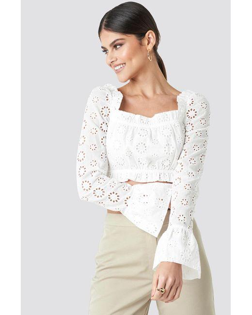 6fc89b953f7294 NA-KD Flared Cuff Cropped Top White in White - Lyst