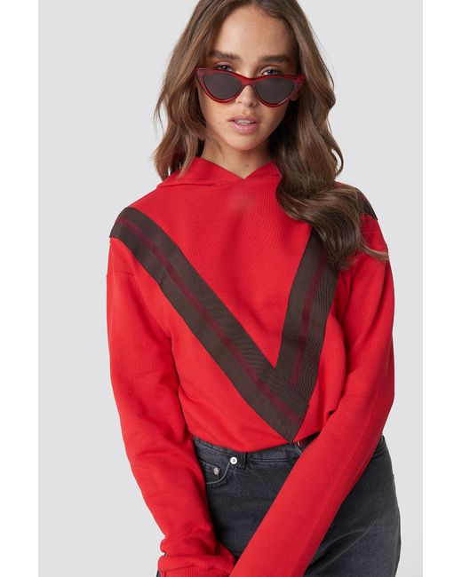 NA-KD - V Striped Hoodie Red - Lyst