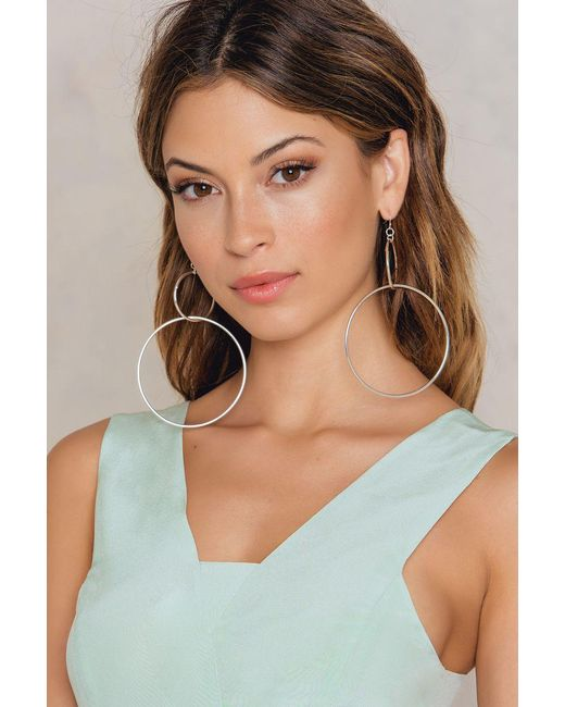 NA-KD | Metallic Big Double Ring Earrings | Lyst