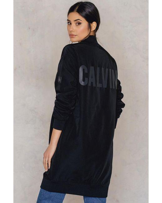 Calvin Klein   Black Olga Long Bomber Jacket   Lyst
