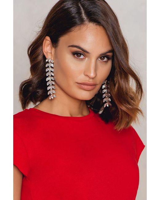 NA-KD | Metallic Hanging Leaves Diamond Earrings | Lyst