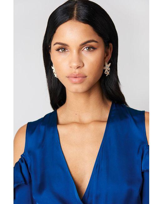 NA-KD - Metallic Jewel Flower Petal Earrings - Lyst