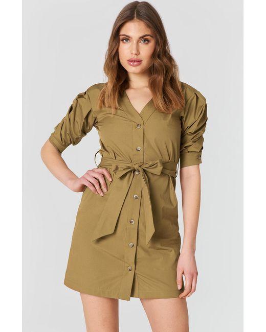 Trendyol - Green Puff Sleeve Dress Mustard - Lyst