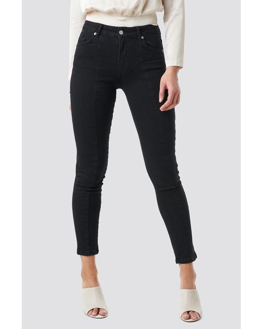 149ceabef445 ... NA-KD - Skinny Mid Waist Front Panel Jeans Black - Lyst ...