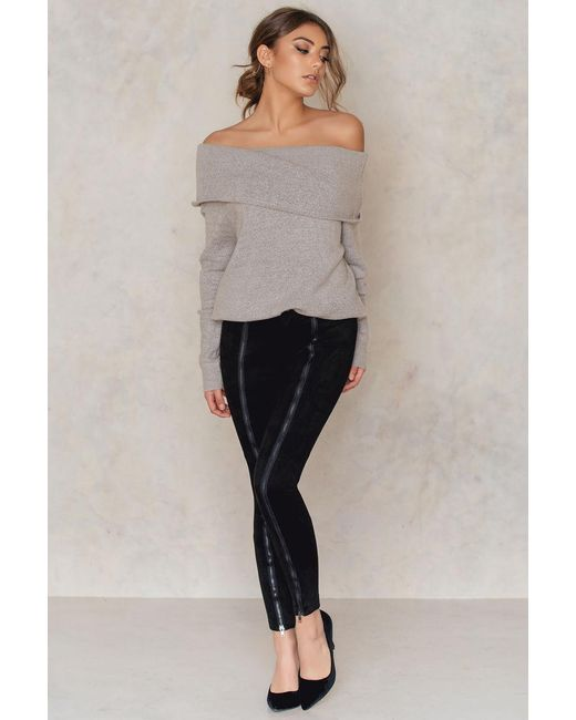 NA-KD   Black Zipped Suede Pants   Lyst