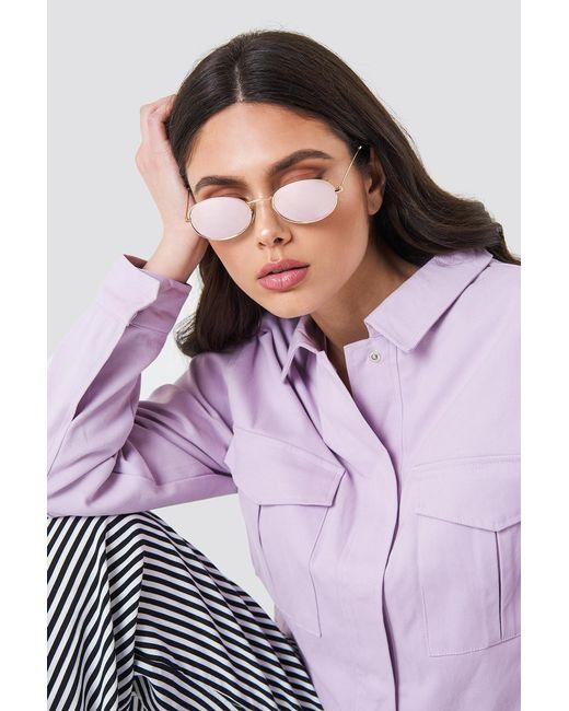 NA-KD - Purple Oval Metal Sunglasses - Lyst