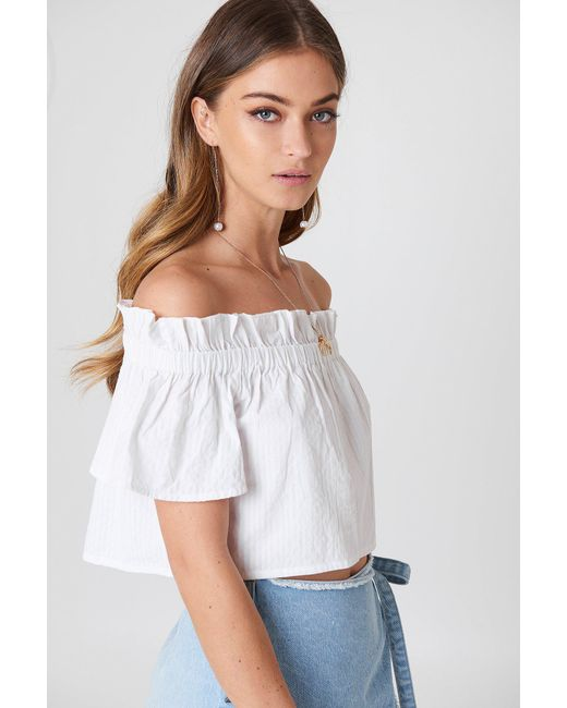 316eb6174e920 NA-KD Off Shoulder Short Sleeve Top White in White - Lyst