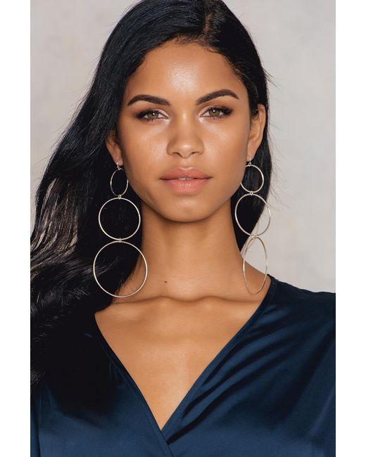 NA-KD - Metallic Hanging Circles Earrings - Lyst