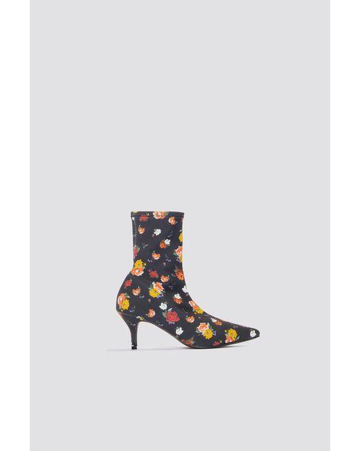 NA-KD - Blue Kitten Heel Sock Boot - Lyst