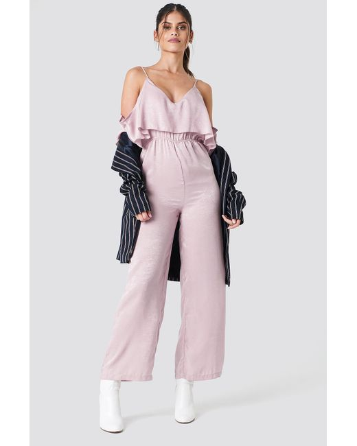 NA-KD - Cold Shoulder Flounce Jumpsuit Light Dusty Pink - Lyst