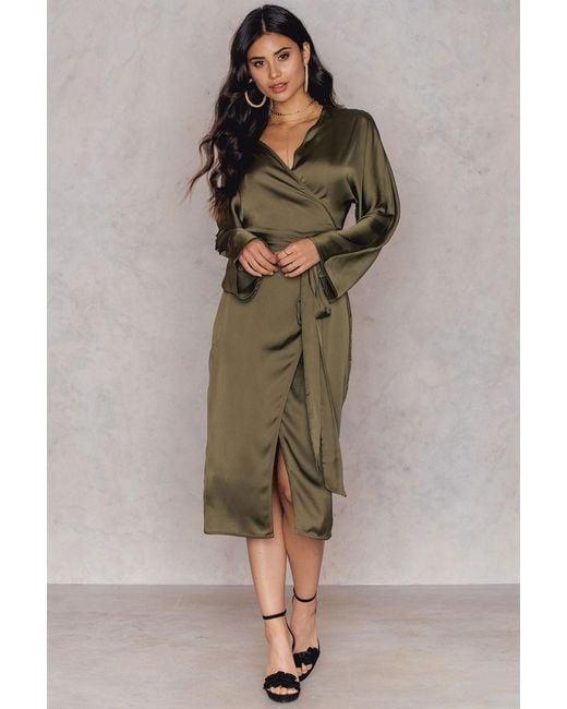 NA-KD | Green Kimono Wrapped Dress | Lyst