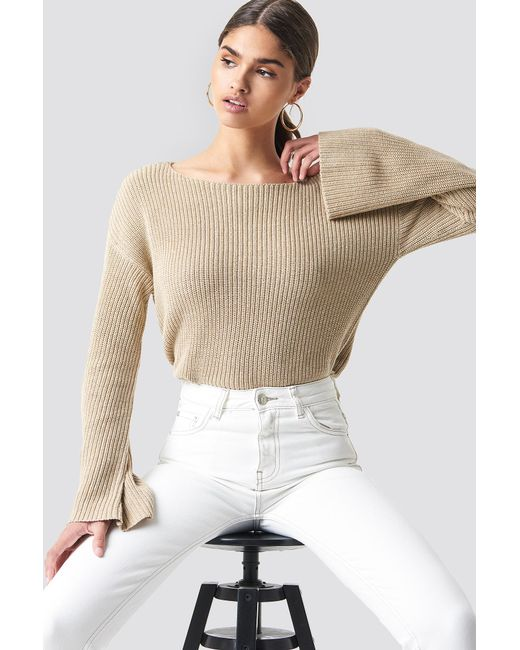 NA-KD - Natural Cropped Long Sleeve Knitted Sweater - Lyst