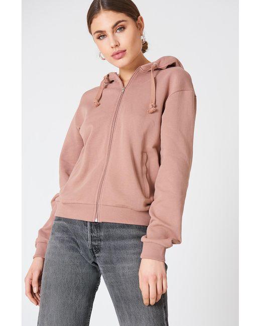 NA-KD - Basic Zipped Hoodie Dusty Dark Pink - Lyst