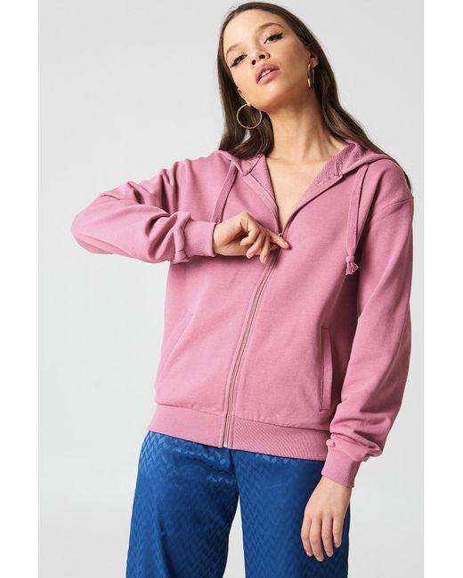 NA-KD - Pink Basic Zipped Hoodie - Lyst