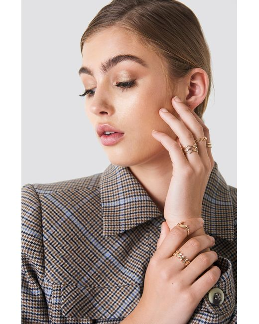 NA-KD - Metallic Stackable Variety Rings Gold - Lyst