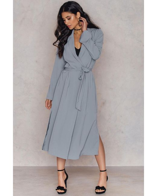 NA-KD | Gray Trenchcoat With Side Slit | Lyst