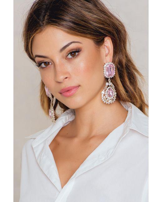 NA-KD - Pink Big Rhinestone Drop Earrings - Lyst