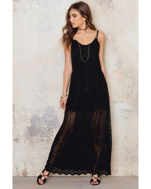 NA-KD   Black Embroidery Chiffon Long Dress   Lyst