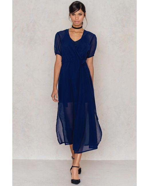 NA-KD | Blue Wrapped Chiffon Dress | Lyst