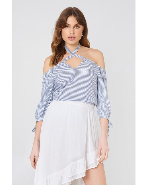 5651a70f6bc92 Lyst - NA-KD Tied Off Shoulder Top Blue white Stripe in Blue