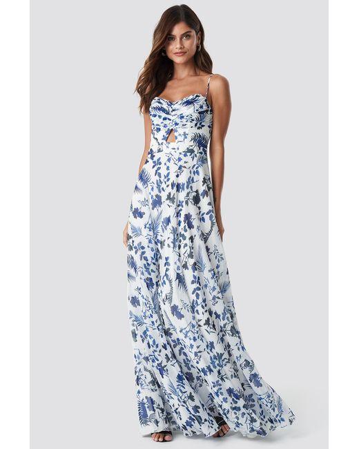 00c03e4106 Trendyol - Blue Flower Pattern Maxi Dress Ecru - Lyst ...