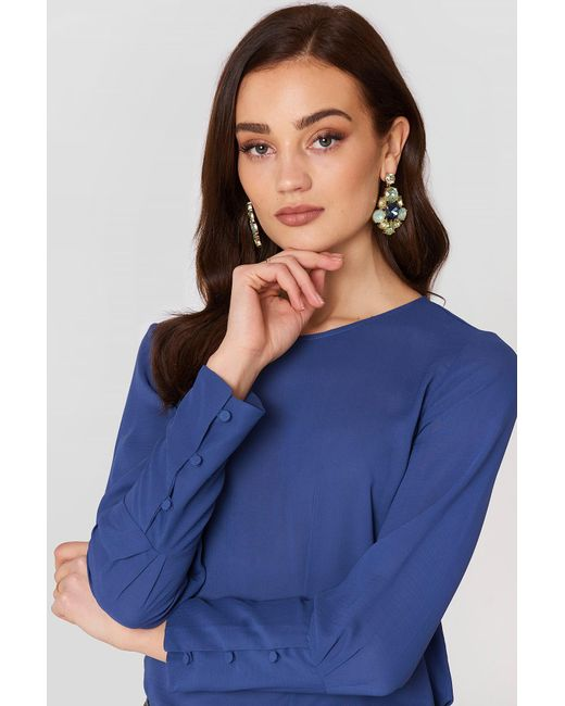 Mango - Buttoned Sleeves Blouse Medium Blue - Lyst