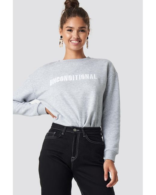 Mango - Gray Embroidered Cotton Sweatshirt - Lyst