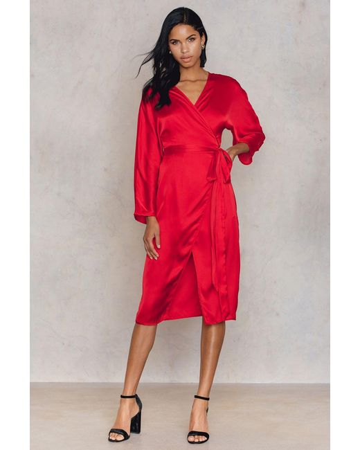 NA-KD | Red Kimono Wrapped Dress | Lyst