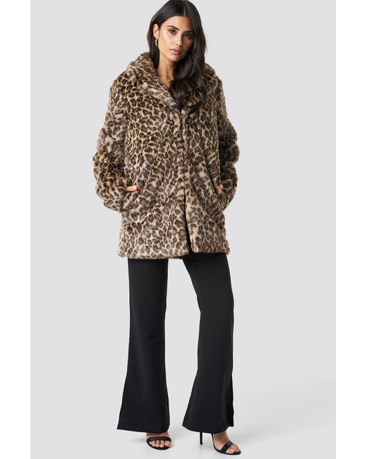 b9d40aecab0a ... NA-KD - Multicolor Fluffy Leo Jacket Leopard - Lyst ...